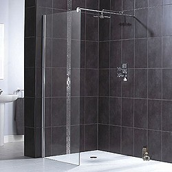 Aqualux Shine Glass Shower Panel With Wall Bracket 1000x1900mm 1160502.