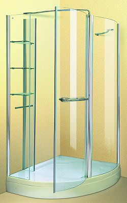 Aqua Enclosures Arizona Left Handed offset corner quadrant shower enclosure with tray and waste