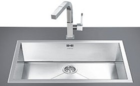 smeg sinks > 1.0 bowl stainless steel low profile inset