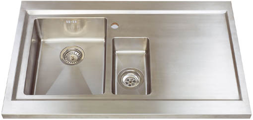 Larger image of Astracast Sink Bistro 1.5 bowl sit on work centre with right hand drainer & extras.