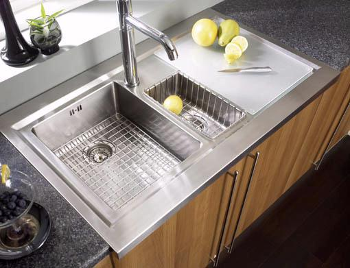 Example image of Astracast Sink Bistro 1.5 bowl sit on work centre with right hand drainer & extras.