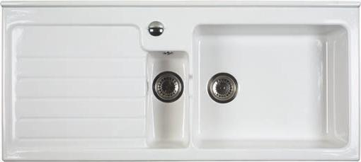 Larger image of Astracast Sink Jersey 1.5 bowl sit-in ceramic kitchen sink with left hand drainer.