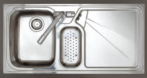 Larger image of Astracast Sink Lausanne 1.5 bowl stainless kitchen sink, right drainer & Extras.