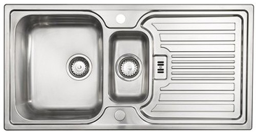 Larger image of Astracast Sink Montreux 1.5 bowl brushed stainless steel kitchen sink & Extras.