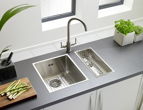 Example image of Astracast Sink Onyx half bowl brushed steel flush inset kitchen sink.