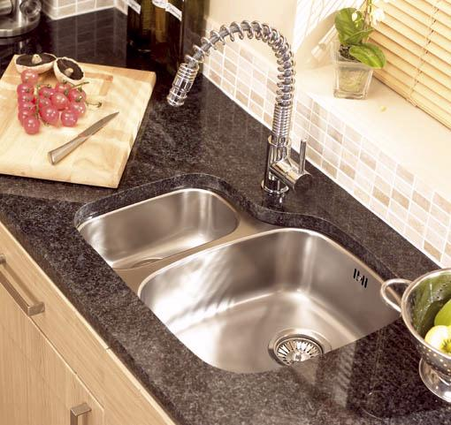Example image of Astracast Sink Opal S3 1.5 bowl left handed stainless steel kitchen sink.