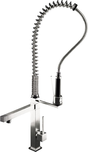 Larger image of Astracast Nexus Brushed Steel Professionale Kitchen Tap & Rinser.  900mm High.