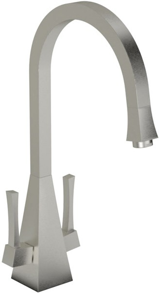 Larger image of Abode Decadence Dual Lever Kitchen Tap (Brushed Nickel).