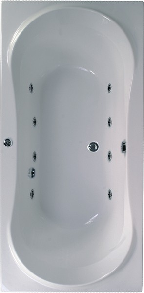 Larger image of Aquaestil Apollo Maxi Double Ended Whirlpool Bath. 8 Jets. 1800x900mm.