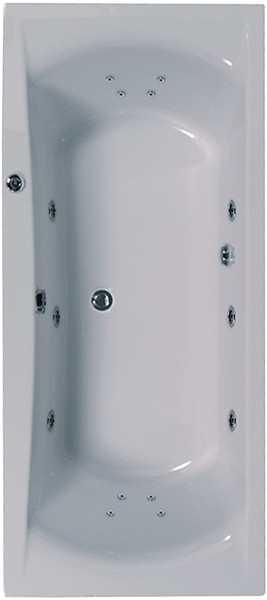 Larger image of Aquaestil Arena Double Ended Turbo Whirlpool Bath. 14 Jets. 1900x900mm.