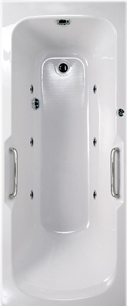 Larger image of Aquaestil Buckingham Aquamaxx Whirlpool Bath & Handles. 6 Jets. 1700x700.