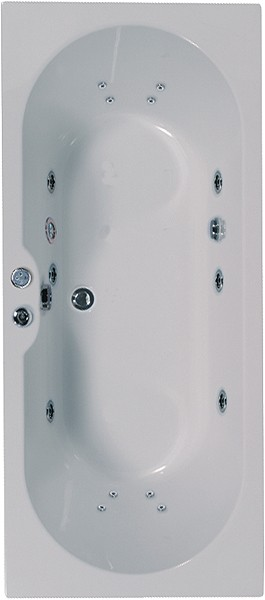 Larger image of Aquaestil Calisto Double Ended Whirlpool Bath. 14 Jets. 1700x750mm.
