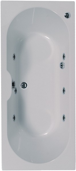 Larger image of Aquaestil Calisto Double Ended Whirlpool Bath. 6 Jets. 1800x800mm.