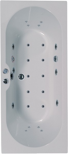 Larger image of Aquaestil Calisto Eclipse Double Ended Whirlpool Bath. 24 Jets. 1800x800mm.