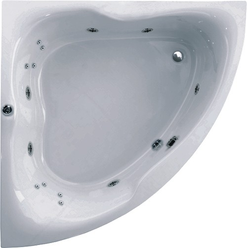 Larger image of Aquaestil Gloria Corner Whirlpool Bath. 14 Jets. 1400x1400mm.