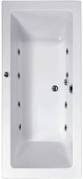 Larger image of Aquaestil Plane Double Ended Whirlpool Bath. 8 Jets. 1800x800mm.