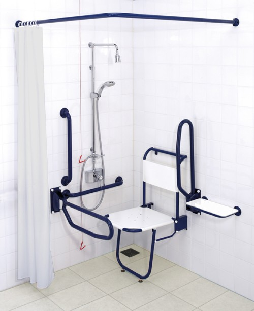 Larger image of Arley Doc M Shower Pack With Blue Grab Rails.
