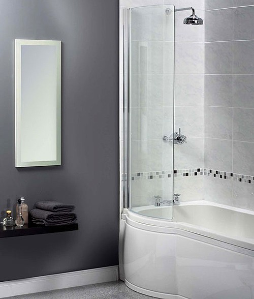 Larger image of Aqualux Shine Curved Bath Screen. 710x1500mm (Reversable).