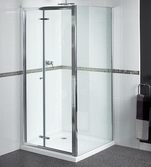 Larger image of Aqualux Shine Shower Enclosure With 760mm Bi-Fold Door. 760x800mm.