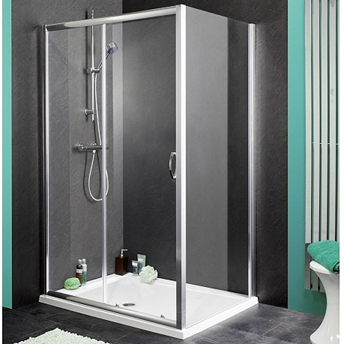 Larger image of Aqualux Shine Shower Enclosure With 1400mm Sliding Door. 1400x900mm.