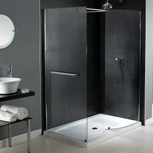 Larger image of Aqualux Shine Walk In Shower Enclosure With Tray 1400x900mm (Reversible).