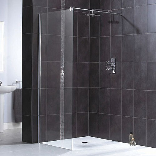 Larger image of Aqualux Shine Glass Shower Panel With Wall Bracket 1000x1900mm 1160502.
