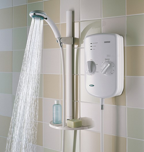 Bristan electric showers 8 5kw evo electric shower with riser rail kit in white - Calentador de agua electrico para ducha ...