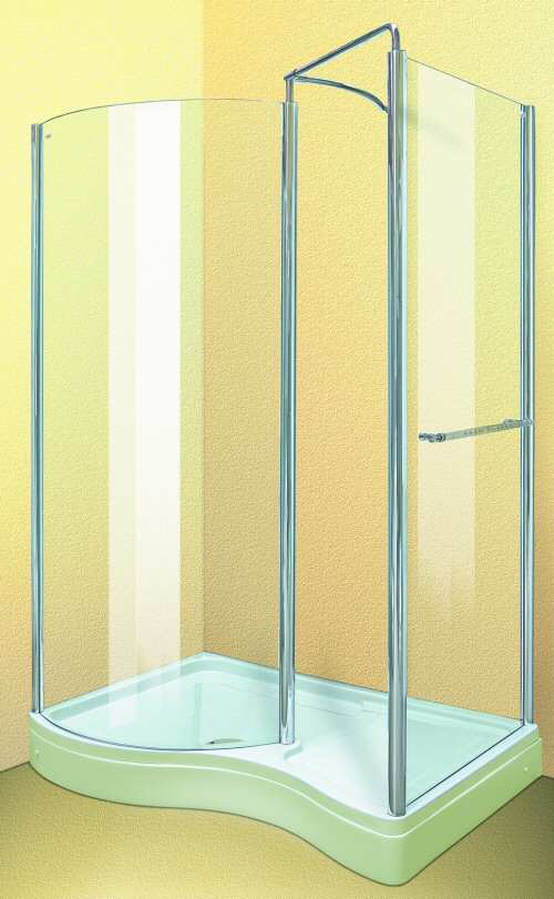 Larger image of Aqua Enclosures Hawaii Left Handed walk in shower enclosure with tray and waste