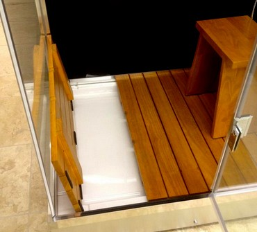 1000x1000 Example Image Of Hydra Square Steam Shower Enclosure (Teak, Left  Handed).