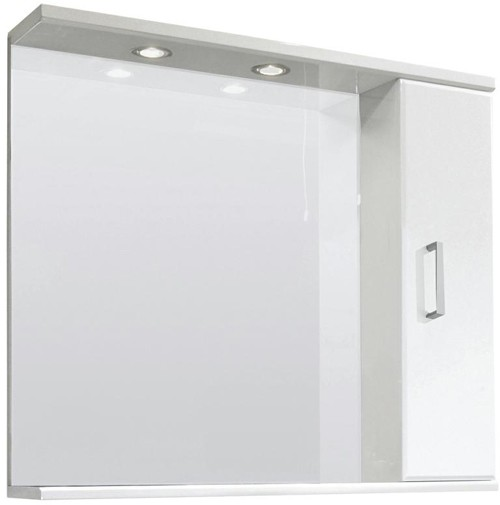Larger image of Ultra Beaufort 750mm Mirror With Shelf & Lights (White).