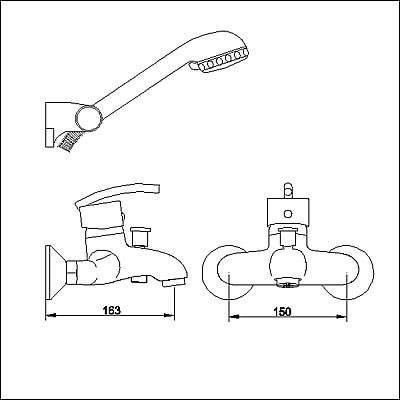 Technical image of Allure Single lever wall mounted bath shower mixer