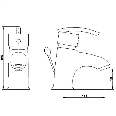 Technical image of Allure Single lever mono basin mixer + free pop up waste