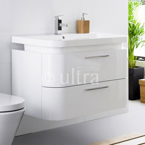 Wall Mounted Vanity Unit With Curved